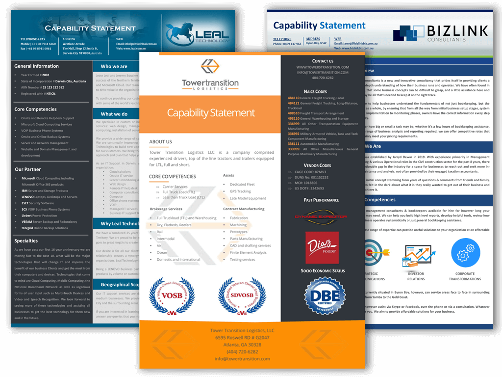 Capability Statement Template Design