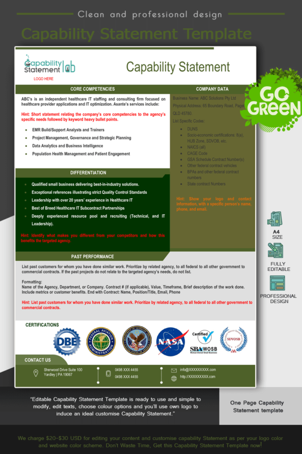 Consultancy Capability Statement Template_green