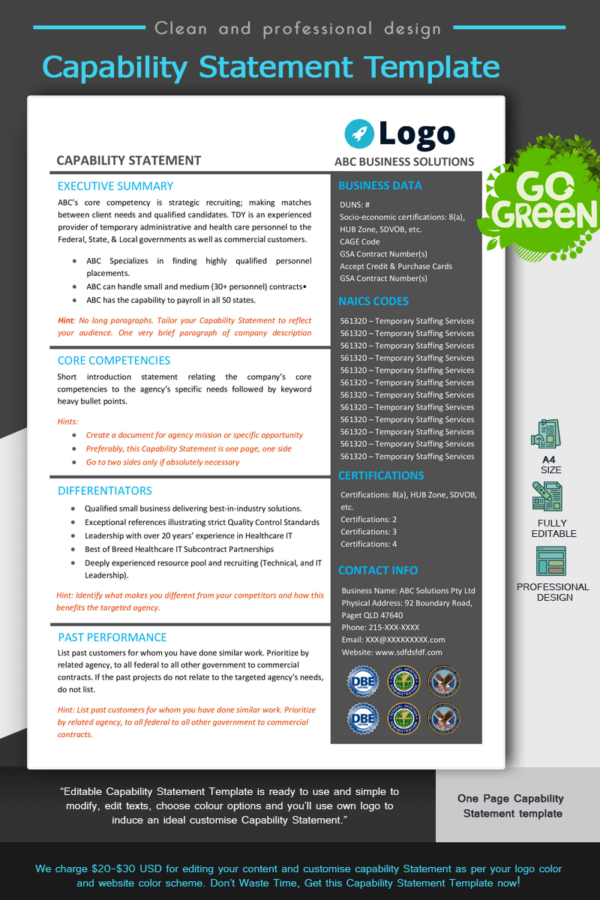 Capability Statement Template_ Blue