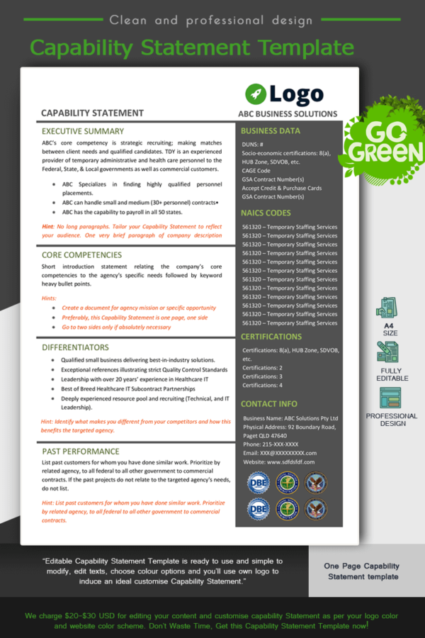 Capability Statement Template_ Green