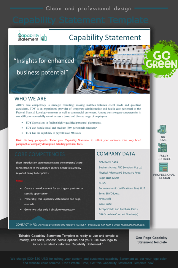 Electrical Capability Statement Template_Green