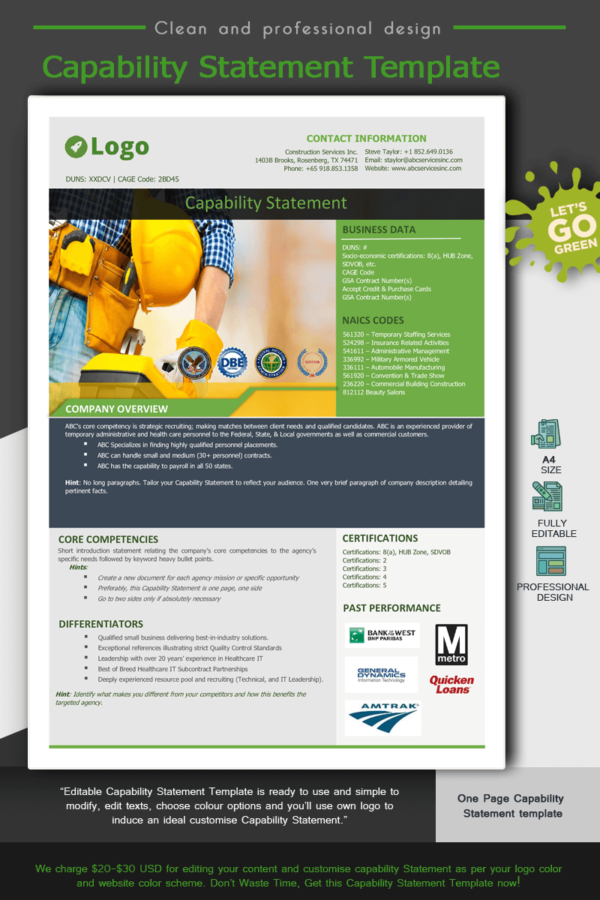 Construction Capability Statement Template 002_Green