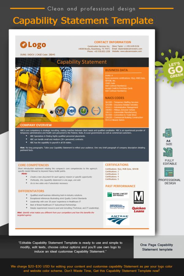 Construction Capability Statement Template 002_Orange