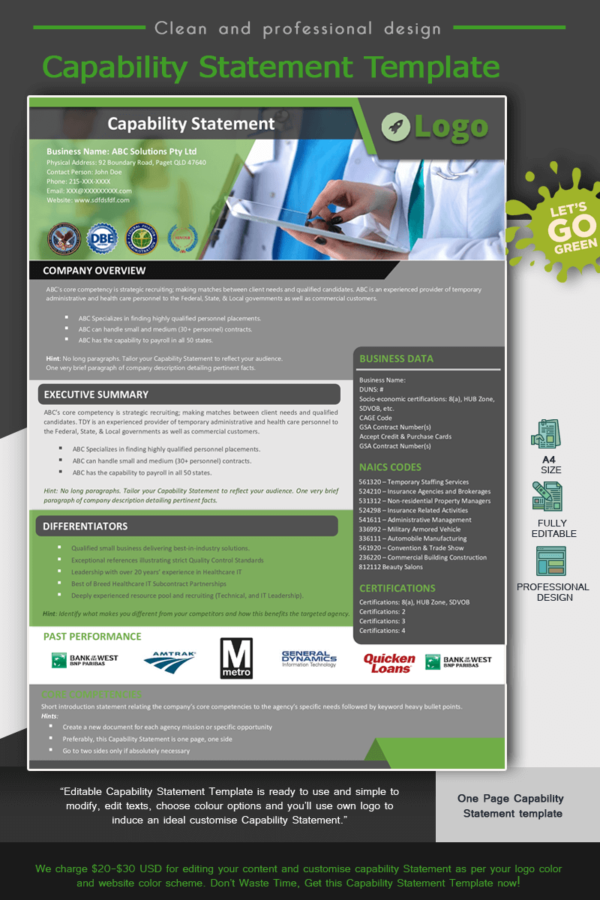 HealthCare Capability Statement Template_Green