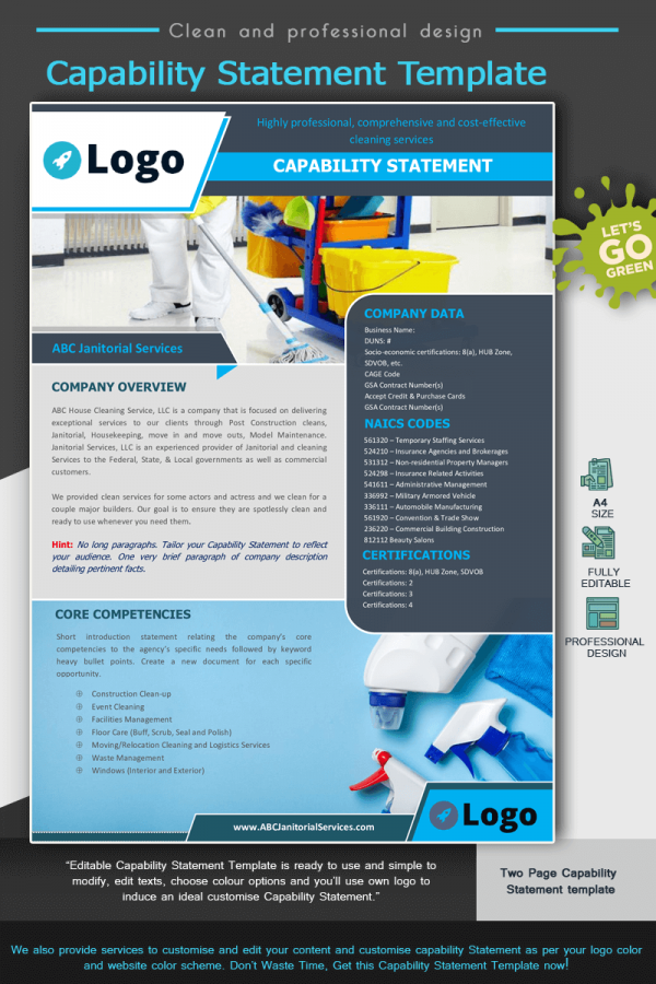 Janitorial Services Capability Statement Template_Blue