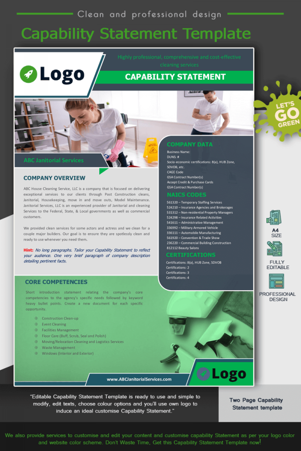 Janitorial Services Capability Statement Template_Green
