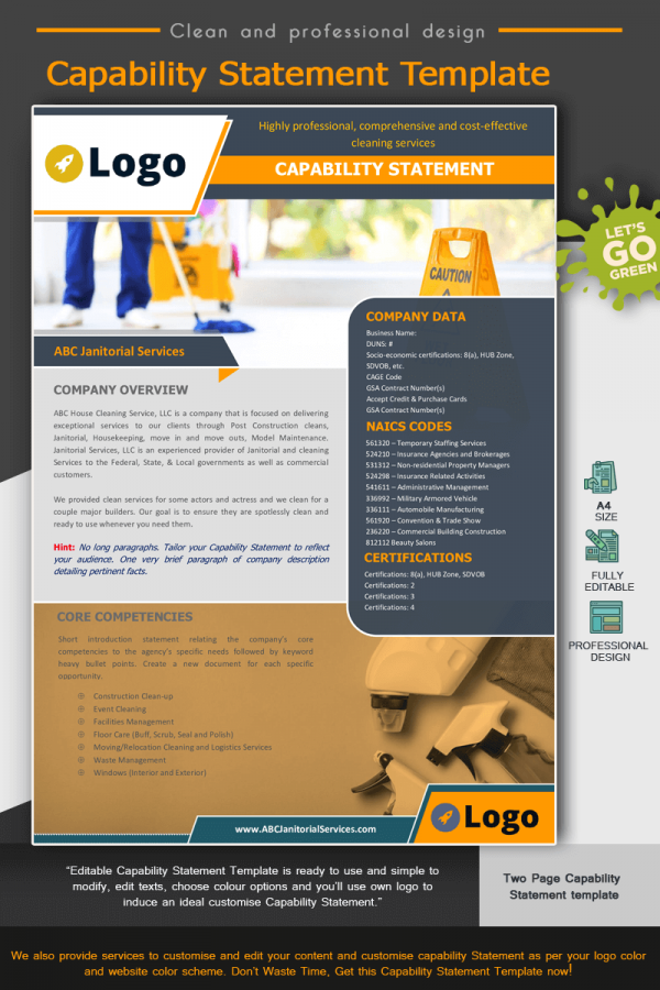 Janitorial Services Capability Statement Template_Yellow