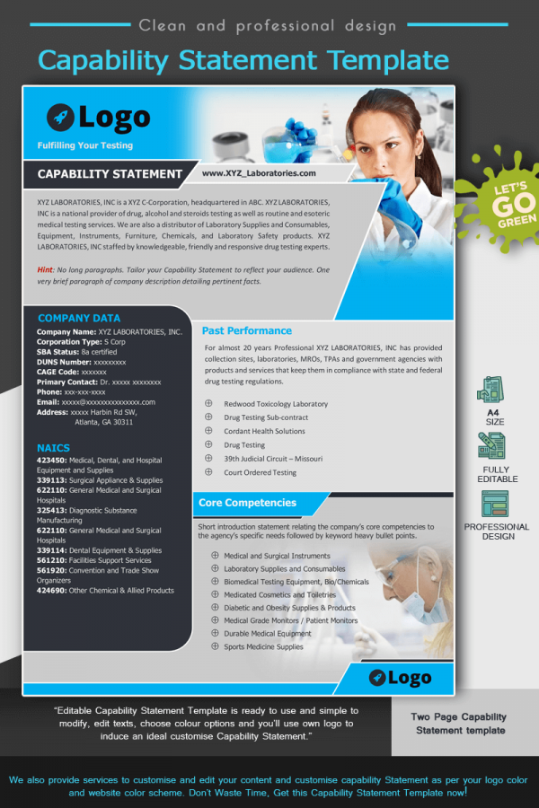 Laboratories Capability Statement Template_Blue
