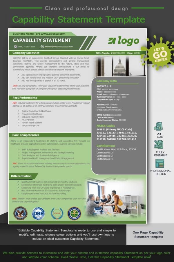 Modern Capability Statement Template - Green